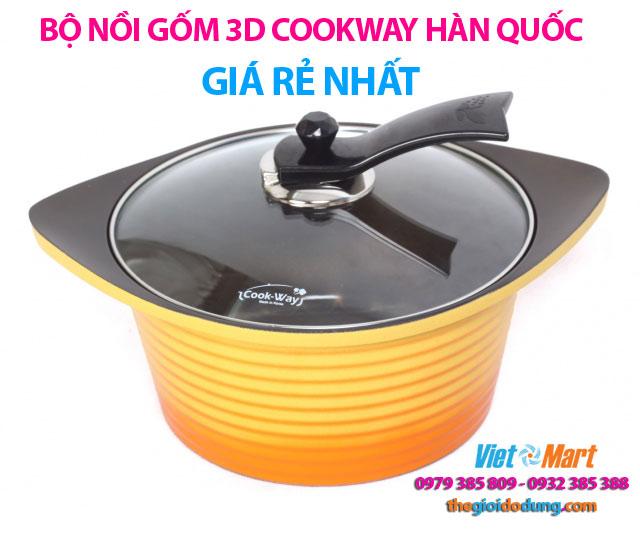 Bộ nồi gốm 3D Cookway Hàn Quốc cao cấp