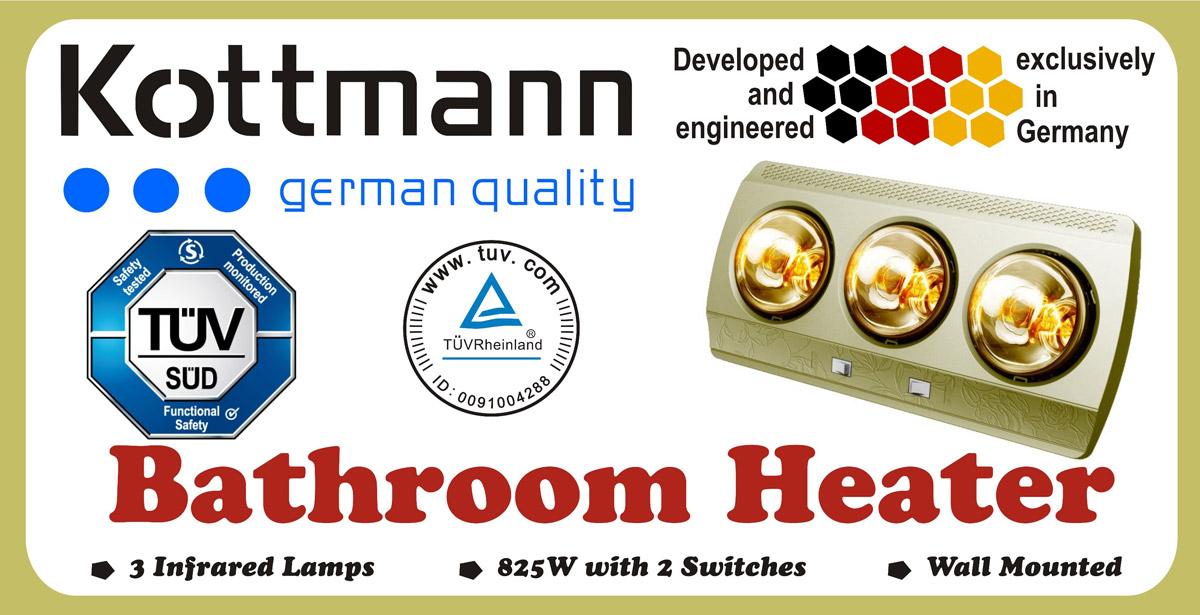 Đèn sưởi phòng tắm Kottman Đức 3 bóng K3B-G Box
