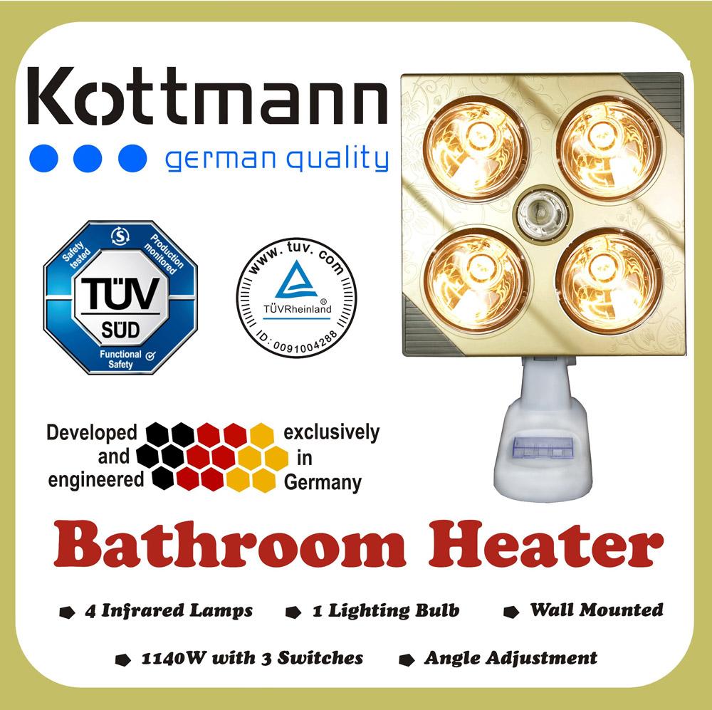 Đèn sưởi phòng tắm Kottman Đức 4 bóng K4B-G Box