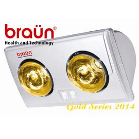 Đèn sưởi nhà tắm Braun 2 bóng vàng ava