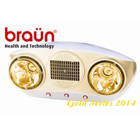 Đèn sưởi nhà tắm Braun 2 bóng vàng thổi gió ấm nóng