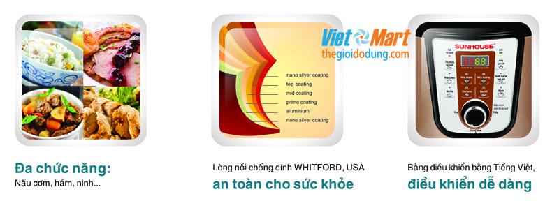 Nồi áp suất điện đa năng Sunhouse SHD-1757 giá rẻ