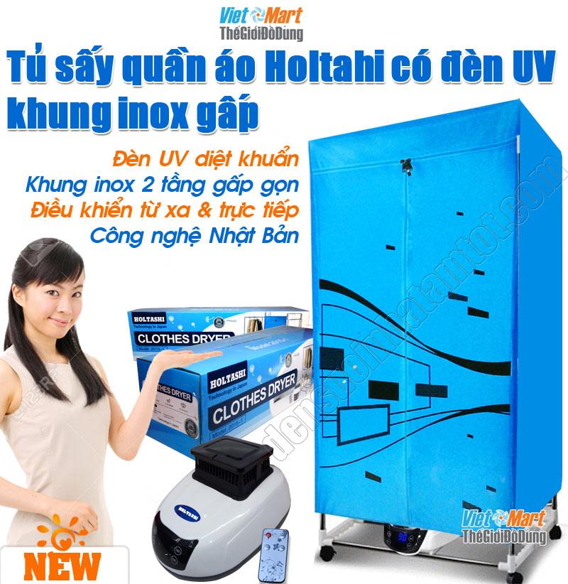 Máy sấy quần áo Holtashi khung inox 2 tầng có UV diệt khuẩn