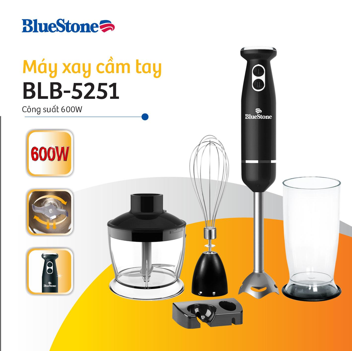 Máy xay cầm tay BlueStone BLB-5251 đa năng công suất 600W, 2 tốc độ xay
