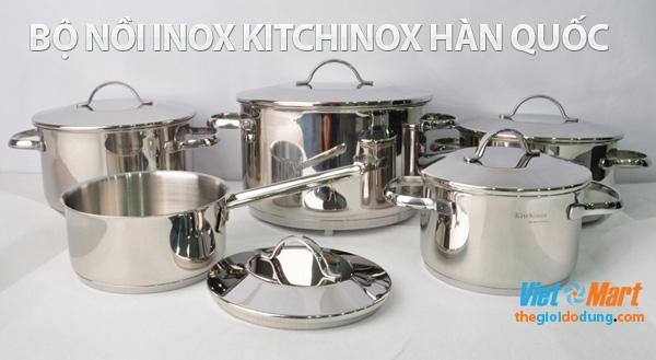 Bộ nồi inox Hàn quốc Kitchinox dùng tốt trên bếp từ