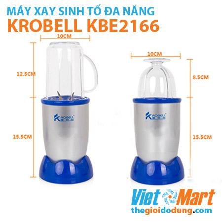 Máy xay sinh tố Krobell KBE-2166 kích thước cối