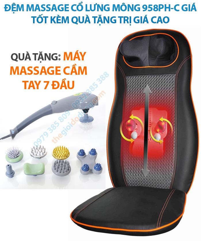 Khuyến mại máy massage 7 đầu với đệm 958PH-C