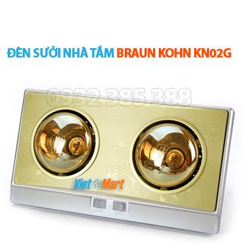 Đèn sưởi nhà tắm 2 bóng vàng Braun Kohn KN02 loại tốt